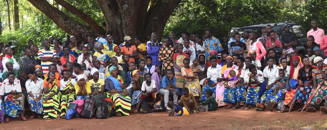 a crowd of brightly-dressed men and women sit listening under a tree