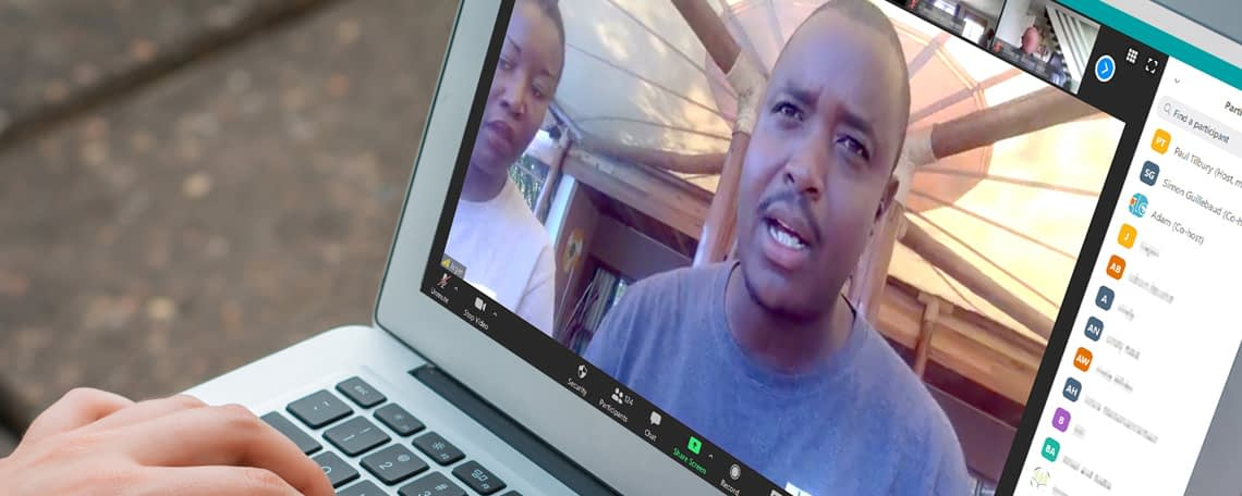 GLO a laptop on a zoom call with Jagen from YWAM