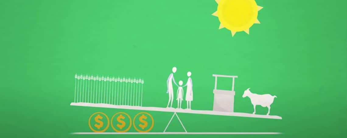 a diagram of a family on a set of scales to explain microfinance