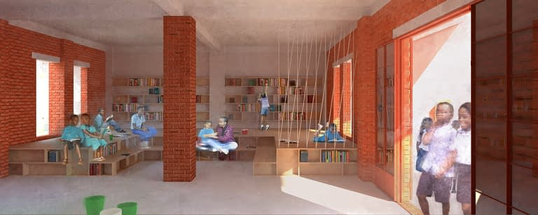 a visualisation of the new centre with children reading and playing indoors